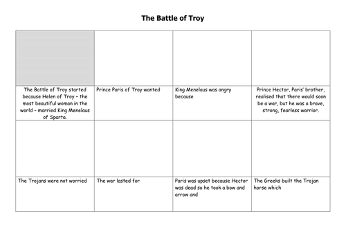 Battle of Troy Storyboard by EBF - Teaching Resources - Tes