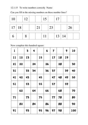 Missing Numbers Line 100 Square By Jafflepie Teaching