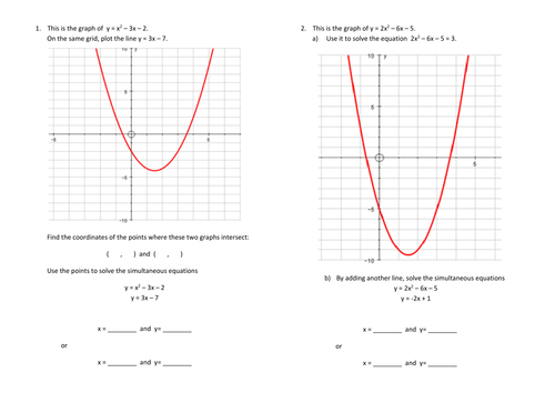 Using quadratic graphs to solve simultaneous equations by