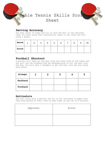 Table Tennis Skills Sheet