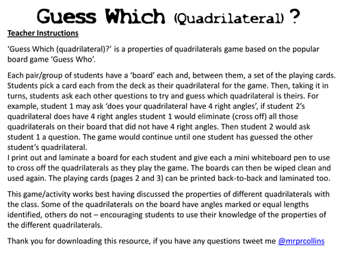 Guess Which Quadrilateral By Paulcollins Teaching Resources Tes