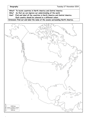 Map Of North America Ks2.Locate And Label Countries In North America By Brads72 Teaching
