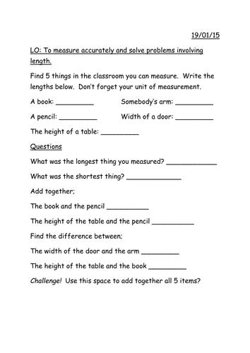 year 3 worksheet for practical measuring lesson teaching. Black Bedroom Furniture Sets. Home Design Ideas