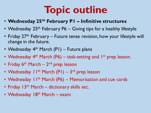 Healthy Living - KS4 - 6 week topic leading to controlled assessment