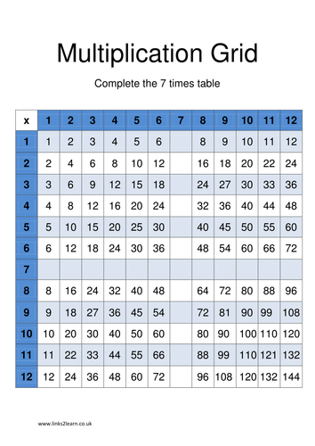 Sample of a wide range of 7 times table games and for 85 times table