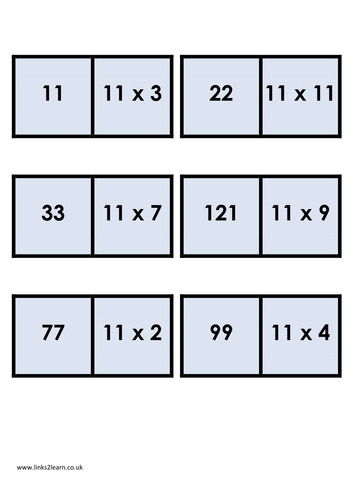 Sample of a wide range of 11 times table games and for 12 times table games