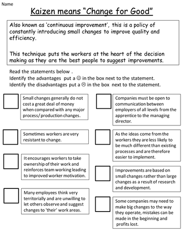 Unit 1 BTEC Level 2 Engineering - Kaizen worksheet