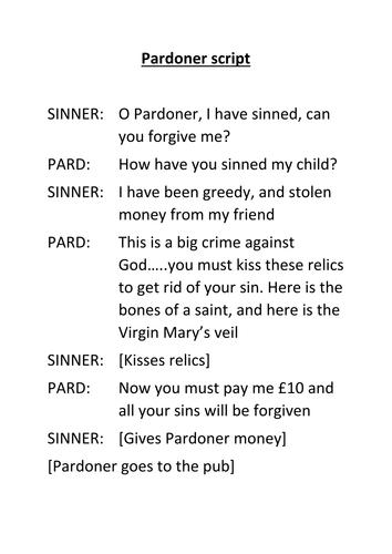 The Pardoner's Tale- Chaucer's Prologue