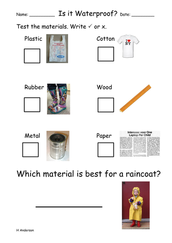 a waterproof worksheet early ks1 by balanowski teaching resources tes. Black Bedroom Furniture Sets. Home Design Ideas