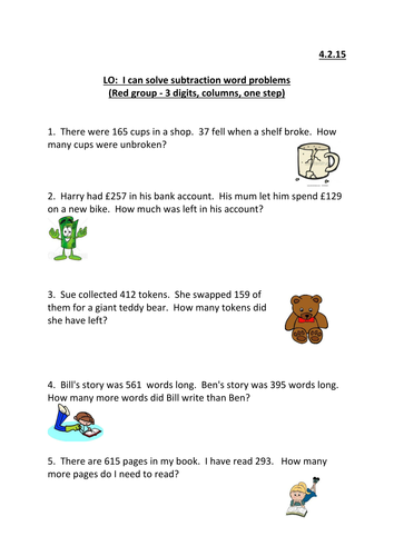 Column subtraction word problems KS2