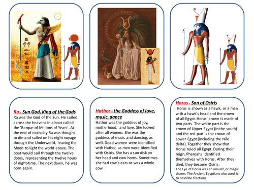 Ancient Egyptian Gods And Goddesses Matching Pairs Game By Emdod
