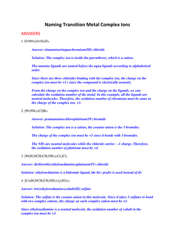 Naming Transition Metal Complexes Worksheet with Answers by ecs90603 ...