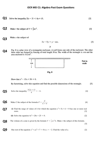 OCR MEI C1: Exam questions by topic by chloeasker | Teaching