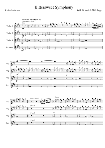 Bittersweet symphony - The Verve - String ensemble score and lead-sheet for bass, guitar and piano
