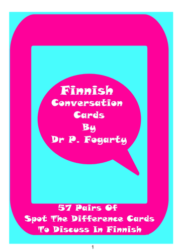 57 Finnish Setting Cards For Conversation Practice