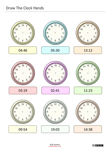 Draw Clock Hands - from easy to 24 hour clock
