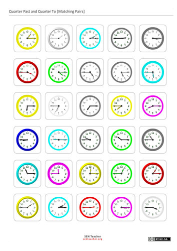 Time Cards for matching, pairs and schedules