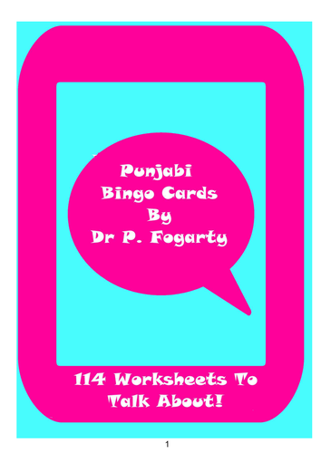 114 Punjabi Bingo Game Cards