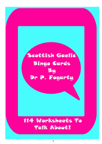 114 Scottish Gaelic Bingo Game Cards