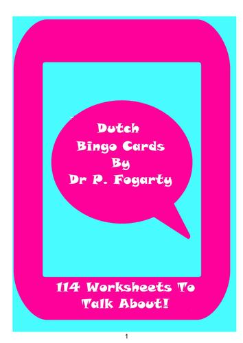 114 Dutch Bingo Game Cards