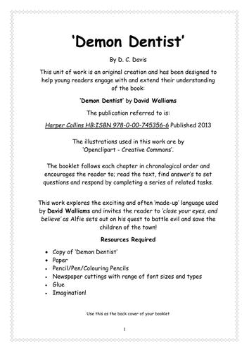 Demon Dentist - David Walliams - Study Booklet
