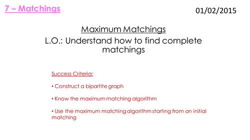 D1 Matchings Lessons - Edexcel