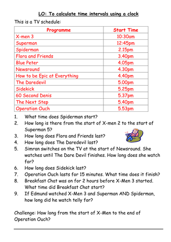 finding time intervals from a tv schedule differentiated by kayemisodi teaching resources tes