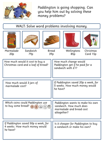 word problems involving money by jordantelope teaching resources. Black Bedroom Furniture Sets. Home Design Ideas