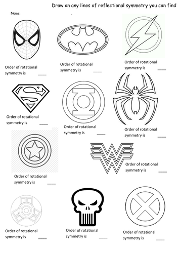 Superhero symmetry- rotation and reflection worksheet by