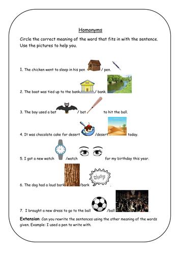 Homonyms Worksheet KS1 by laurensampson19 | Teaching Resources