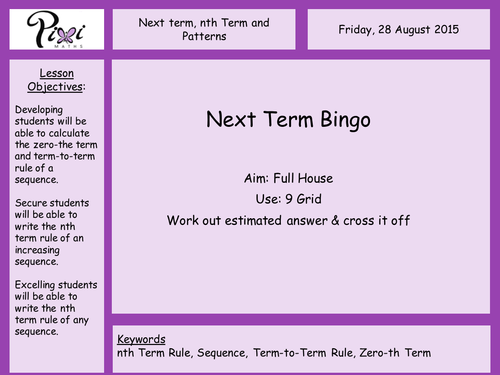 nth term, first terms and sequences from patterns by PixiMaths ...