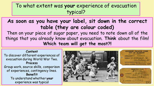 World War Two -Evacuation - time to experience evacuation through diversity.
