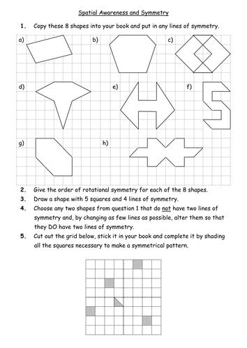 Symmetry Worksheet - line & rotational