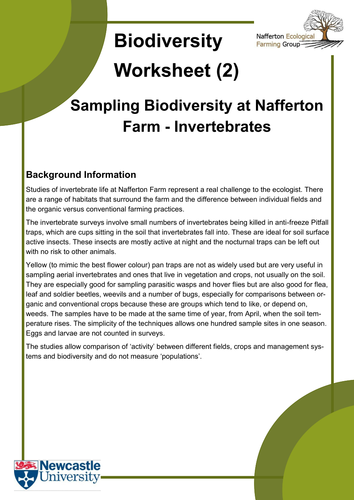 Biodiversity Worksheets and Introduction by KateEcologicalFarming ...