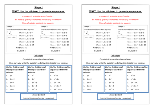 Nth Term Ladder Activity (5 Levels Differentiated)