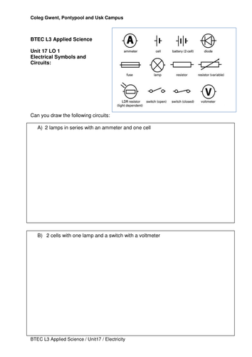 Circuit Diagram Worksheet By Bur00917 Teaching Resources Tes