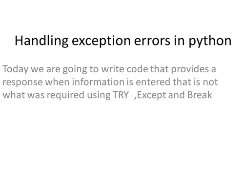 How to deal with exception errors in Python