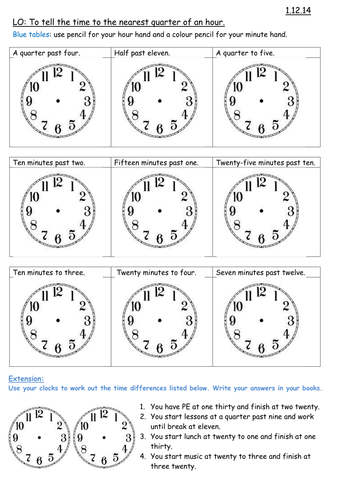 New Curriculum 2014: \'Time\', Maths for Year 3 by Carla_Maestra ...