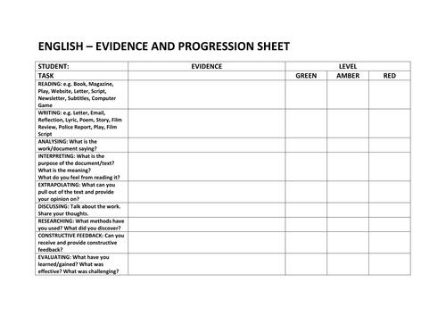 ENGLISH EVIDENCE AND PROGRESSION SHEET - KS3-4