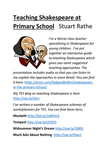 A guide to teaching Primary Shakespeare