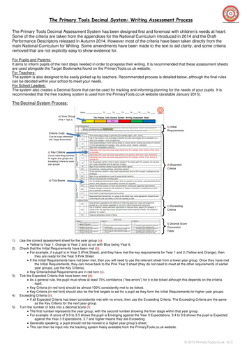 Year 3 Writing Assessment Sheet for the  New Curriculum