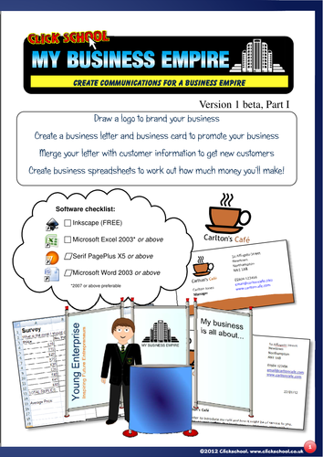 My Business Empire! Enterprise: Logos, Letters, Business Cards, Mail-merge, spreadsheets