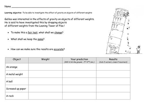 Galileo science experiment weight and gravity by philshepp – Gravity Worksheets