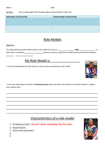 AQA Spec. Powerpoint lesson on Role Models