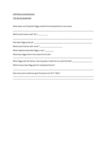 KS2 Poetry comprehension sheets on 'The Pig' Roald Dahl