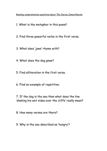 Reading comprehension questions The Sea by James Reeves  KS2/3 different abilities