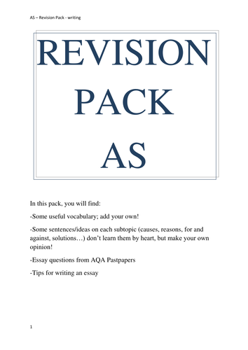 AS Y12 Easter Complete Revision Pack writing speaking