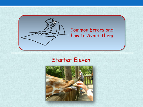 Avoiding Common Errors - Starter Activities