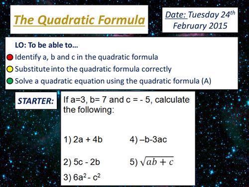 KS4 Quadratic Formula - Solving Equations GCSE