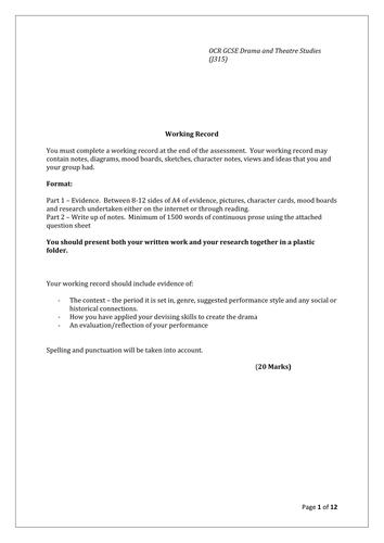 GCSE Drama working record help